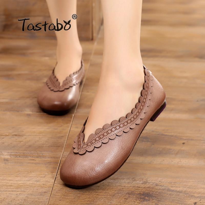 Tastabo Genuine Leather Flat Shoe Pregnant Women Shoe Mother Driving Shoe Female Moccasins Fashion Women Flats
