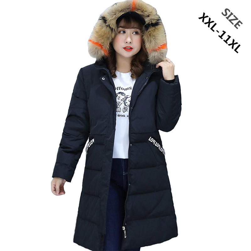 Winter   down     coat   women Super large size XXL-11XL Natural raccoon fur collar Hooded jackets female Thicken warm   Down   jackets 2289