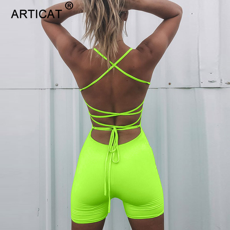 Articat Neon Green Bandage Backless Sexy Jumpsuit Women Summer Playsuit Lace Up Bodycon Rompers Women Beach Casual Club Overalls