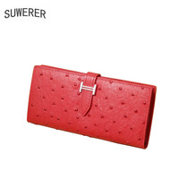 SUWERER 2019 New women genuine leather bags Embossed top cowhide Fashion Multi card leathe wallet bag women leather clutch bag