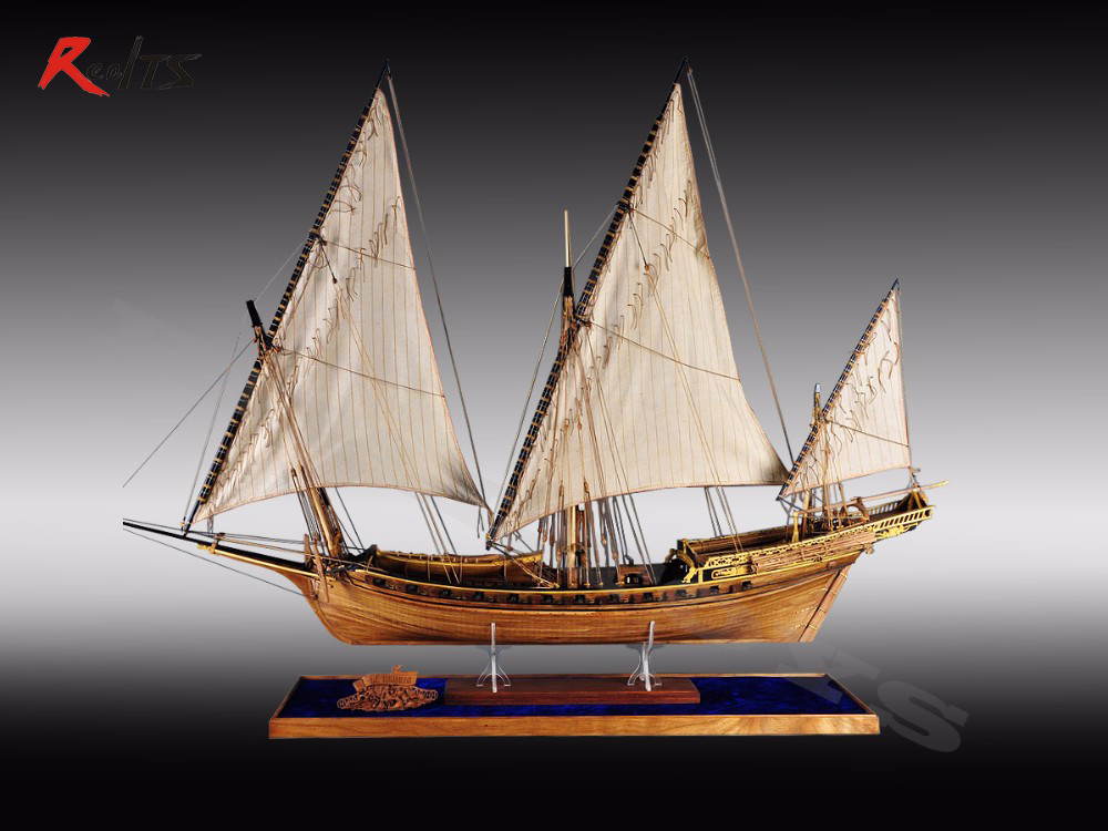 RealTS Classic wooden sailing boat wood scale ship LE REQUIN wood ship model kit 1/48 SHARK whole rib assembly model building ingermanland 1715 model ship wood