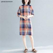 Long Sleeve Plaid Shirt Women Spring Autumn Mori Girl Casual Loose Plus Size Blouse Cotton Linen Long Shirt chemisier femme