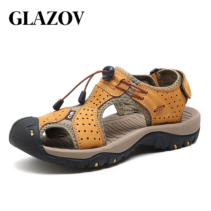 все цены на GLAZOV Brand Genuine Leather Men Shoes Summer New Large Size Men's Sandals Men Sandals Fashion Sandals Slippers Big Size 38-45 онлайн