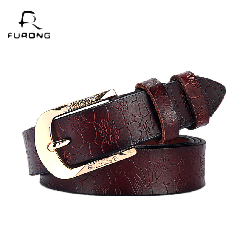 FURONG Female Leather Belt Genuine Cow Skin Women's Belt Black for Jeans Rhinestone Embossing Designer Pin Buckle Belt Lady(China)