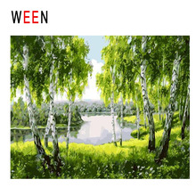 WEEN Lake Diy Painting By Numbers Abstract Forest Oil On Canvas Tree Cuadros Decoracion Acrylic Landscape Home Decor