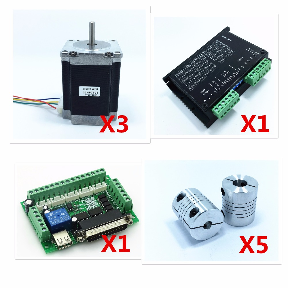 3PC Nema23 Stepper Motor 4-Lead 270oz-in 76mm + NEMA23 motor drive+1pc controler+5 pc coupling 8*8MM for 3D Printer and CNC aveda green science masque age 8 5 oz