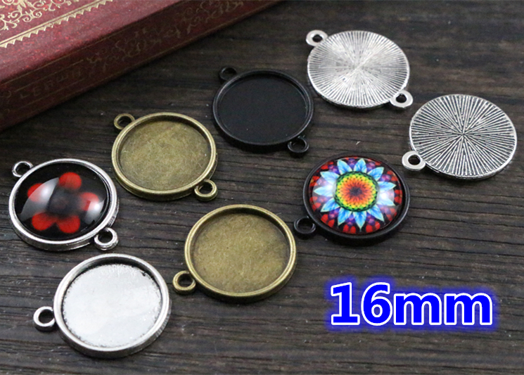 20pcs 16mm Inner Size Antique Bronze And Silver And Black Plated 6 Simple Style Cabochon Base Cameo Setting Charms Pendant