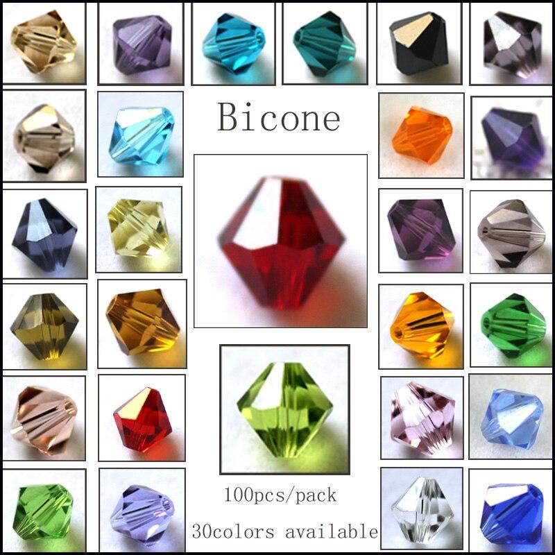 5301/5328 venta al por mayor de perlas de bicono de alta calidad AAA 100 unids/lote 3mm 4mm 5mm 6mm 8mm 10mm cuentas de cristal para hacer joyas DIY