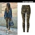 Novas Mulheres Calça Jeans de Cintura Médio Magro Estiramento Calças de Camuflagem Impressão Bolso Lateral Com Zíper Piloto Pé Cowboy Calças Casuais Para As Mulheres