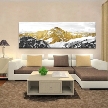Posters and Prints Wall Art Canvas Painting Traditional Chinese Abstract Golden Mountain Oil For Living Room Home Decor