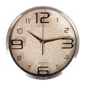 Metal Frame Wall Clocks Home Decor Circular Single Face Clocks Brief Arabic Numerals Mute Quartz Wall Clock Home Decorati