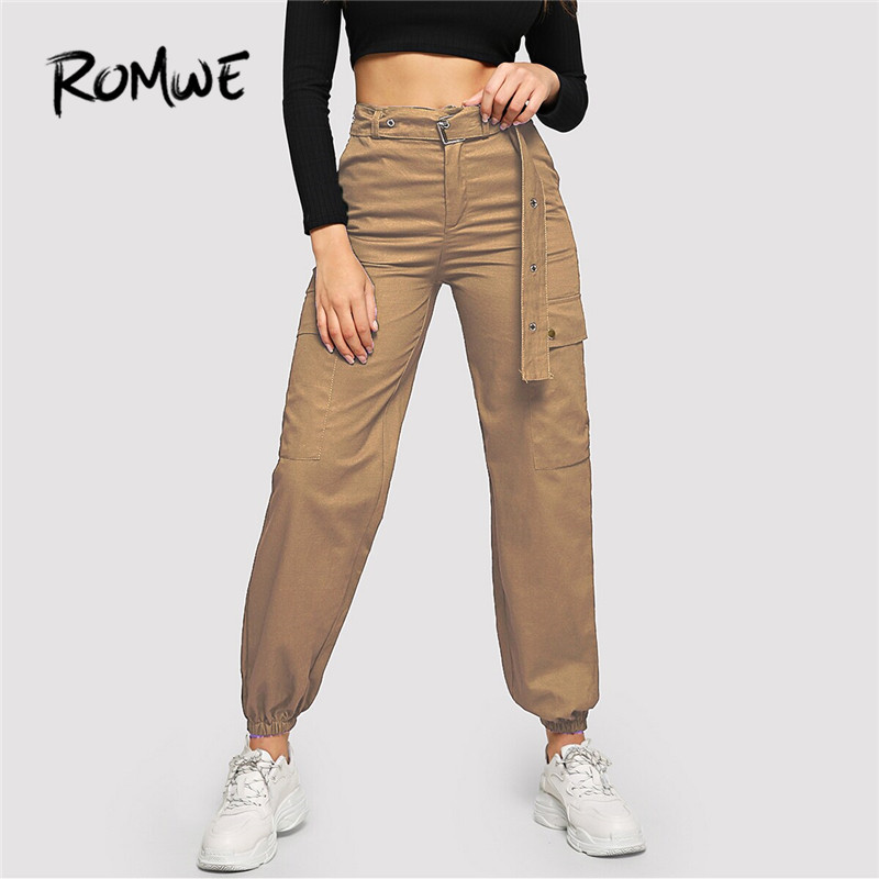 ROMWE Flap Pocket Grommet Belted Black Cargo Pants Women Casual High Waist Pants Button Fly Streetwear Trousers Loose Pants