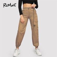 ROMWE Flap Pocket Grommet Belted Black Cargo Pants Women Casual High Waist Pants Button Fly Streetwear Trousers Loose Pants