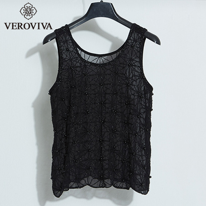 6c078aa8fa104 SUNVIEW Women Fashion Black Lace Sequin Vest Sexy Party Club Female Tops  Elegant Slim Translucent Tank Tee-in Tank Tops from Women s Clothing on ...