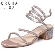 1af79117225649 ORCHA LISA sandale femme mi talon carré haute qualité spirale paillettes  chaussures d'été noir