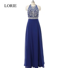 Robe De Soiree A Line Halfter Royal Blue Prom Kleider lange 2017 Perlen Kristalle Formale Jugendliche Abend-festzug-kleid Party kleider