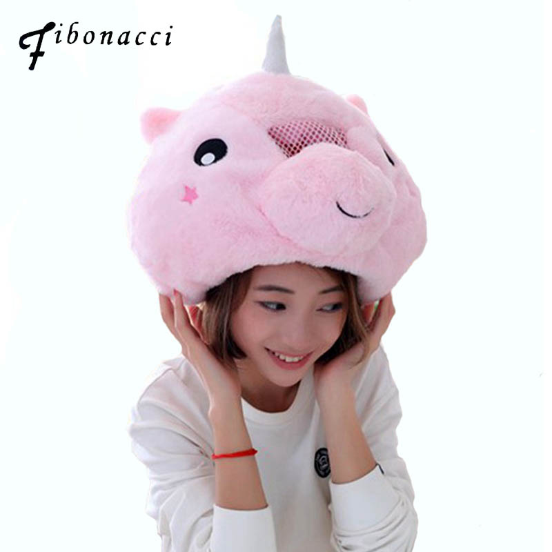 Fibonacci 2018 New Soft Warm Animal Women   Skullies   Pink Unicorn Plush Hats Earmuffs PP Cotton Filled   Beanies   Cosplay Hat