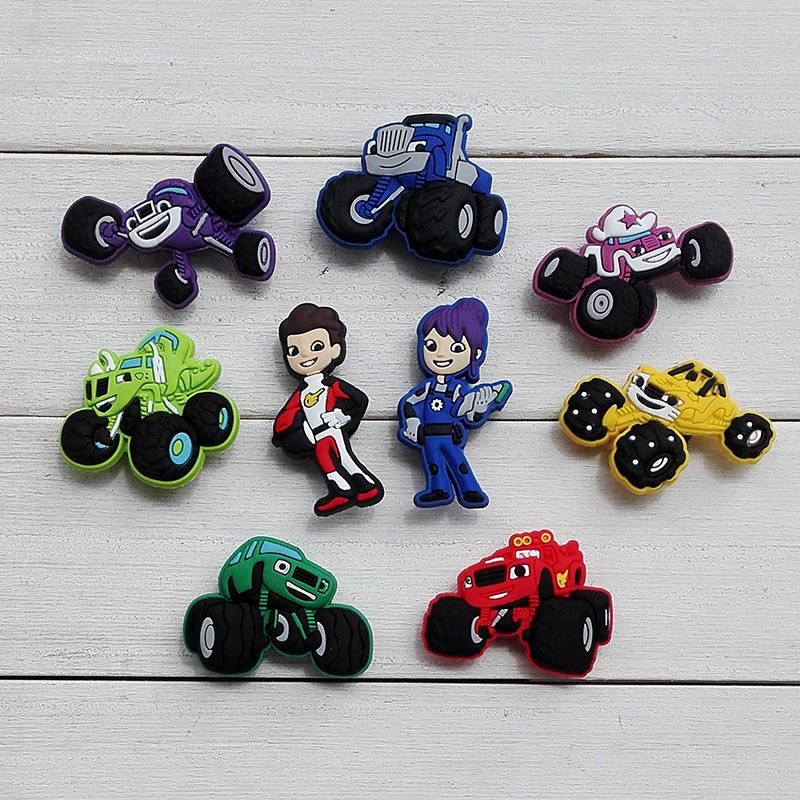 Free shipping 9pcs/lot Monster Truck Racing PVC Kid's Gift Shoe Charms/shoe accessories/shoe decorate for Clog/ Wristbands popular item 45pcs sheriff callie s wild west pvc kid s shoe charms shoe accessories shoe decorate for clog wristbands kid gift