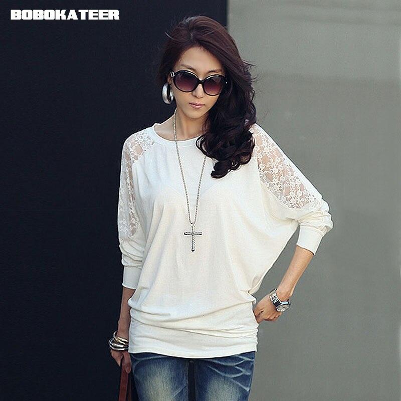 BOBOKATEER Tee Shirt Femme 2018 White Lace Long Sleeve T Shirt Women T-shirt Solid Casual