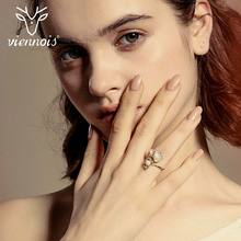 Viennois Light Gold Color Rings for Women Simulated Pearl Cocktail Rings Female Rhinestone Party Rings Jewelry