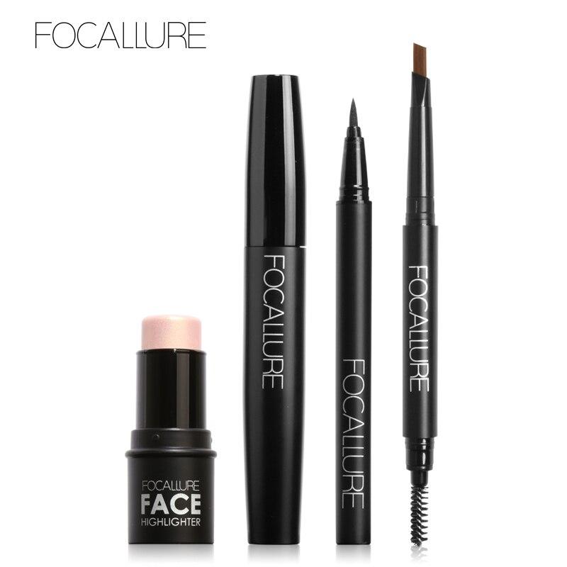 FOCALLURE 4Pcs Makeup Set with High Pigment Highlighter Cream Black Volume Mascara Eyeliner Pen and Eyebrow