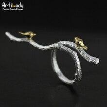 Artilady handmade 925 sterling silver rings elegant bird on tree branch design ring for women jewelry wedding gift