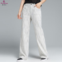 Yuxinfeng Wide Leg Cotton Linen Pants Women Stripe Patchwork High Quality Slim Loose Large Size Pants
