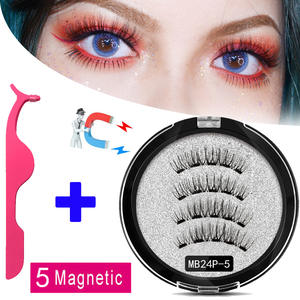 Queen New 2 Pair 5 Magnetic Eyelashes natural 3D Reusable handmade magnetic False Eye lashes natural Mink eyelashes magnet lash
