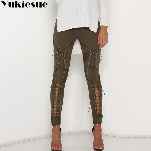 Lace Up Bodycon Pencil Pants 6