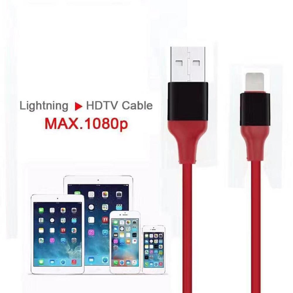 Lighting Converter Hdmi Hd Cable (Red For Apple)for  Iphone/Android-To-Tv Hdmi Cable Hdtv Tv Digital Av Adapter(China)