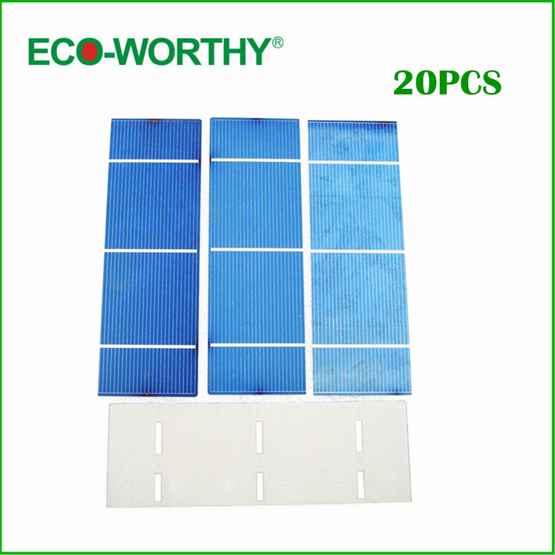 20 pcs 16% efficiency 2x6 polycystalline solar cell 1.3w/pc , DIY solar panel for home use ,free shipping