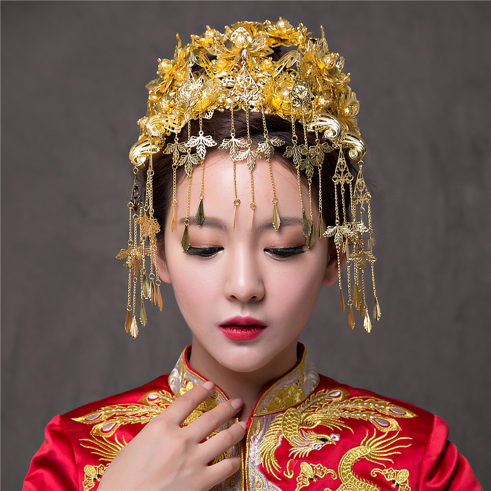 Chinese Wedding Hairwear Jewelry Bridal Headbands Bride Hair Tiaras Hair Accessories Long Tasseles Women Phoenix Coronet Crown 00009 red gold bride wedding hair tiaras ancient chinese empress hair piece