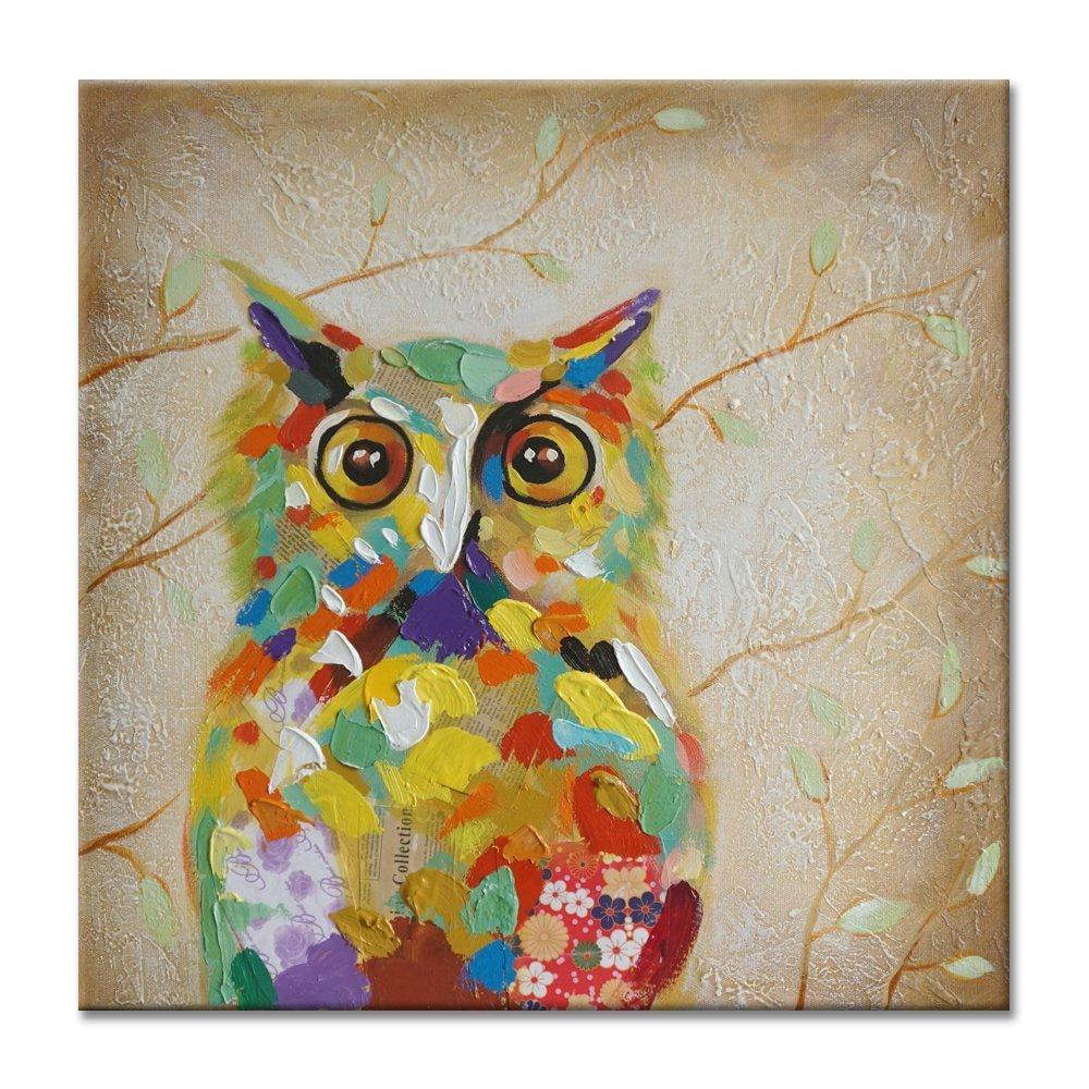 artstory 100 hand painted oil painting animal colorful owl with stretched frame wall art for home decor 24x24 inch