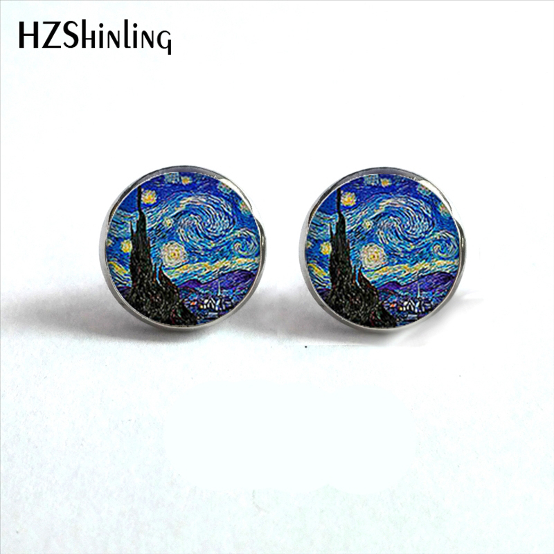 NES-001 Van Gogh Lukisan Stud Earrings Starry Night Ear Studs Van Gogh Bunga Matahari Putaran Perhiasan Kaca Dome Earrings HZ4