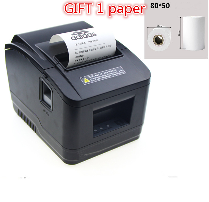 gift 1rolls of paper new high-quality 80mm thermal receipt printer  automatic cutting printing USB port /Ethernet port wholesale brand new 80mm receipt pos printer high quality thermal bill printer automatic cutter usb network port print fast