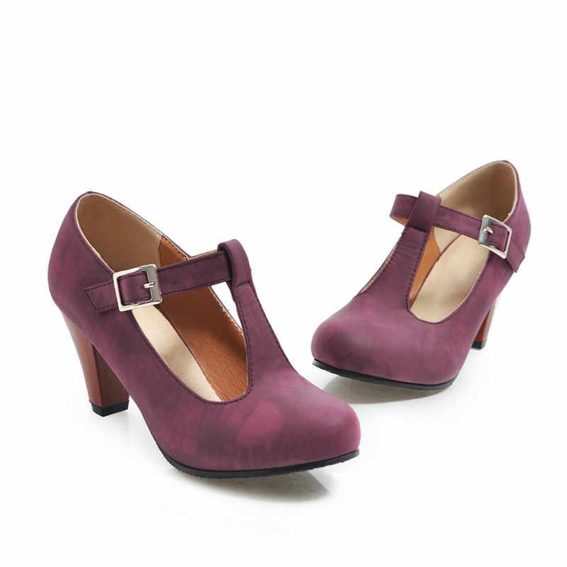 MoonMeek artı boyutu 34-48 moda bahar sonbahar yeni ayakkabılar kadınlar yuvarlak ayak toka kadın ayakkabı pompaları klasik yüksek topuklu ayakkabılar kadın