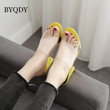 BYQDY Fashion PVC Jelly Sandals Open Toe High Heels Women Transparent Shoes Square Heel Size 35-40 chaussures femme