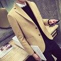 2017 Outono Inverno Casacos de Lã Dos Homens Casacos Único Breasted Turn-Down Collar Trench Coats Casual masculino Magro Curto Casacos JST108