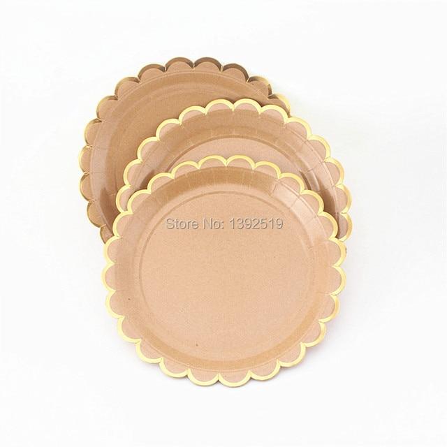 160Pcs Kraft Paper Plates Scollop Edge Shiny Gold Foil Border Wedding Fruit Dish Plates Event \u0026  sc 1 st  AliExpress.com & 160Pcs Kraft Paper Plates Scollop Edge Shiny Gold Foil Border ...