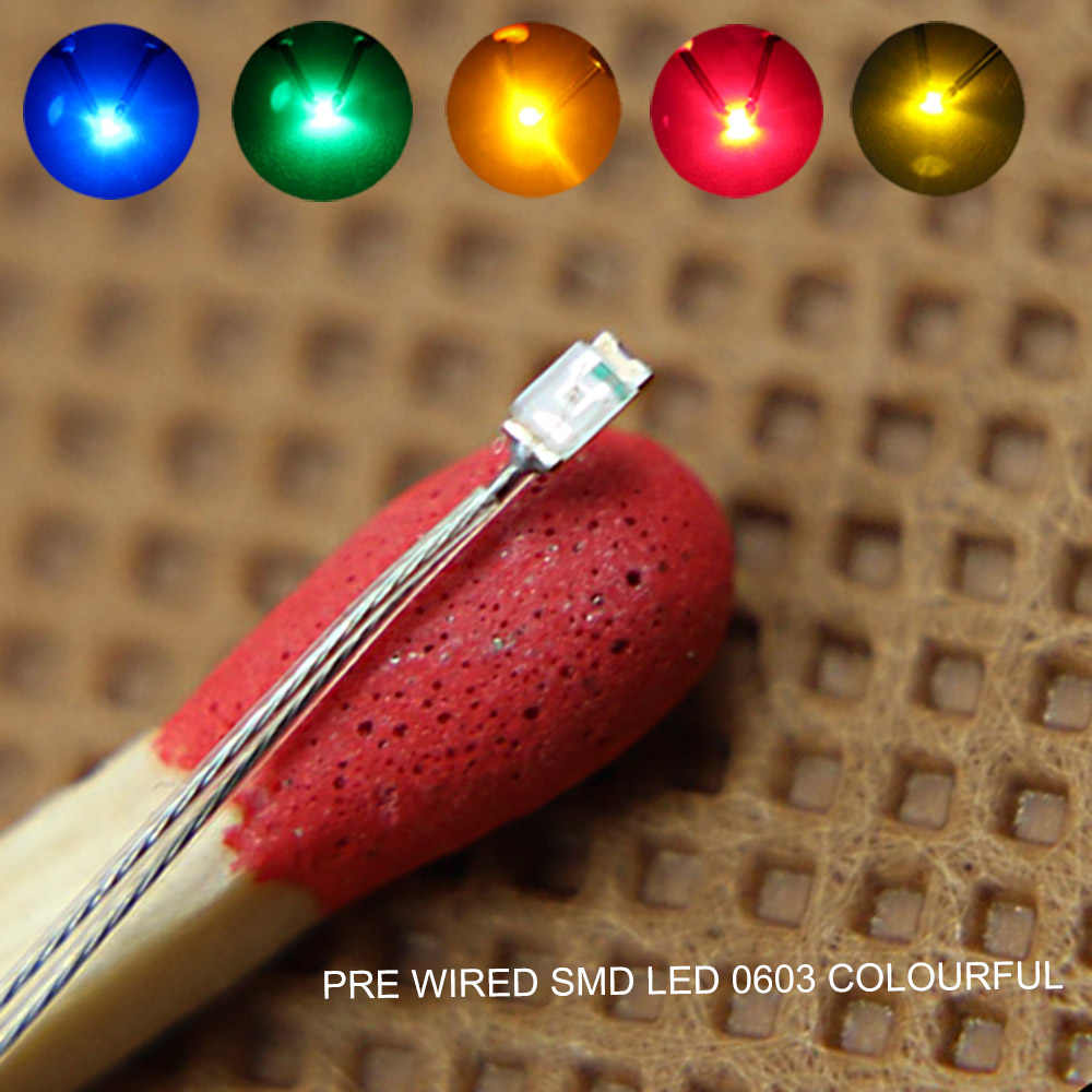 T0603 20pcs 0603 SMD LEDS Pre-soldered micro litz wired leads BLUE  GREEN ORANGE RED YELLOW SMD Led  NEW