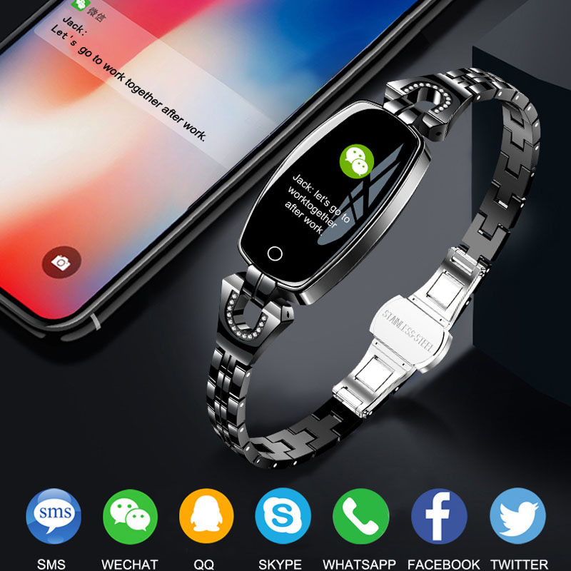 US $23 59 41% OFF|H8 Smart Watch Women 2018 Waterproof Heart Rate  Monitoring Bluetooth For Android IOS Fitness Bracelet Smartwatch Smart  Bracelet-in