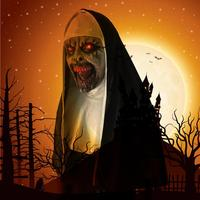 Prank Trick Horror Nun Mask Halloween Costume Cosplay Toy With LED Light Props Party With Voice Novelty toy