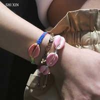 SHIXIN Boho Farbe Sea Shell Armbänder Armreifen Muschel Hand Kette Webstuhl Armbänder Set für Frauen 2019 Modeschmuck Weibliche Geschenke