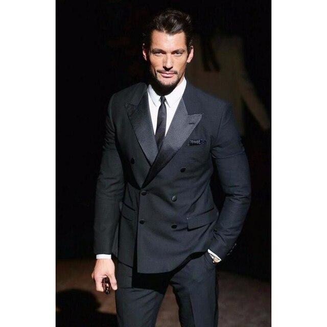 2017 Jacket Pants Tie Charcoal Wedding Suit For Men Double Ted Mens Suits Groom