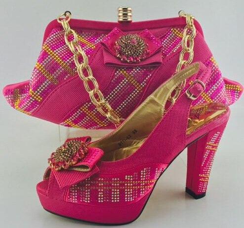 Mariage Sac Italie Chaussures De Chaussure orange Africaines Nigérian Femmes Parti rose Et Décoré Avec Vert 2017 Strass Ensemble 5ARjq3L4