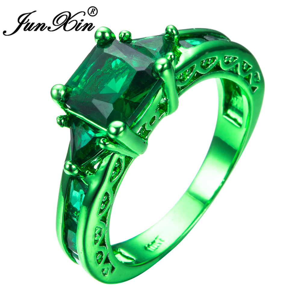 JUNXIN Male Female Geometric Ring Green Gold Filled Jewelry Vintage