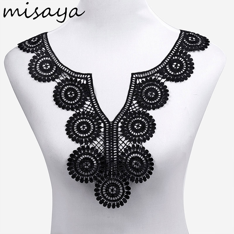 Image 5 - Misaya 1pc Lace Collar of 9 Style Beautiful Flower and Heart Venise Lace Applique Trim Lace Fabric Sewing Supplies Lace Neckline-in Lace from Home & Garden