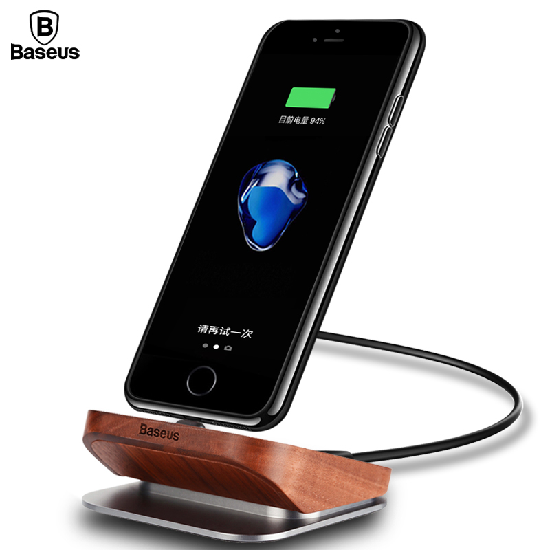 baseus wood charger dock station cell phone desktop docking station for iphone 7 6 6s plus
