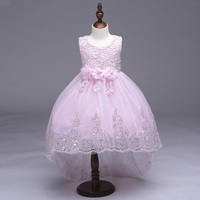 Retail Lace Beading Hemline Kid Girls Wedding Trailing Dress Embroidery Belt With Flowers And Big Bow
