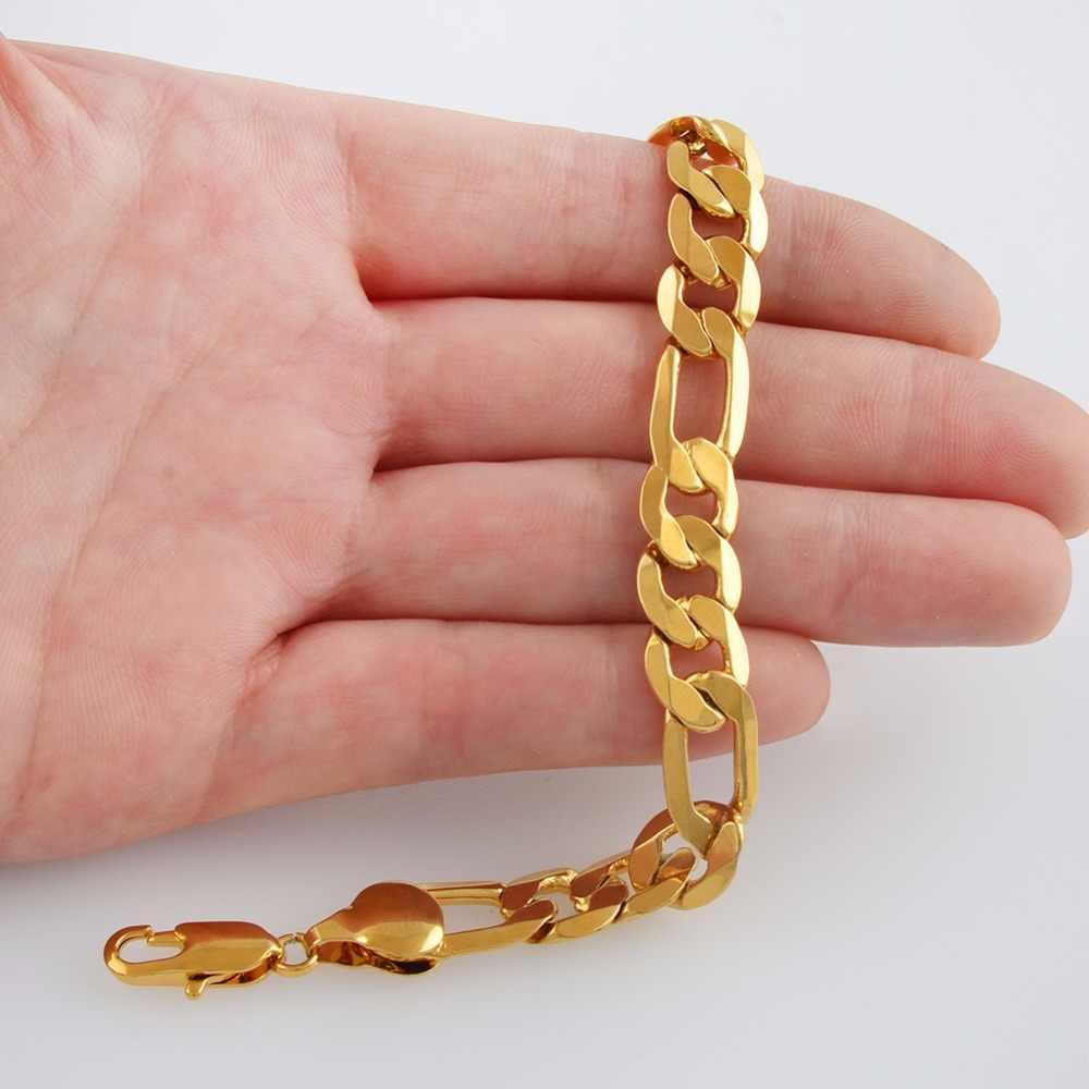 Anniyo ONE PIECE/mężczyźni bransoletki łańcuchowe złoty kolor i bransoletki z miedzi dla kobiet łańcuchy Figaro GP Link bransoletka biżuteria prezenty #064202